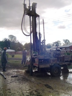 The construction of a borehole at the Villages of Hope site