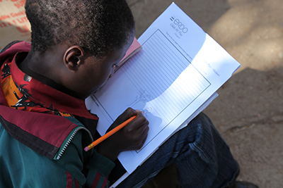 A child writes his sponsor and draws a picture