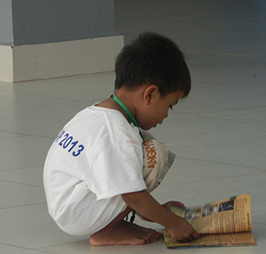 Taking a moment to read a children's bible