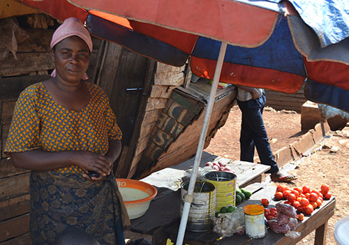 A Wezesha Project borrower stands at her roadside business selling mixed goods. She is working on repaying her first loan of 50 USD
