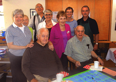 Friends of Linhaven - Left to Right - Polly, Walt, Pat, Bob, George, Bernie, Wayne, Nellie, Laurier and Bruce