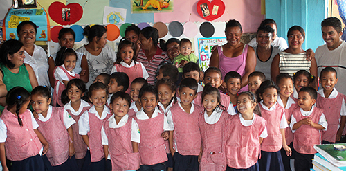 Kindergarten children at the Mary Flakes school in Honduras which is part of the Feeding Program in Honduras