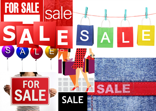 Sale tag collage - to illustrate how we are constantly bombarded by marketing