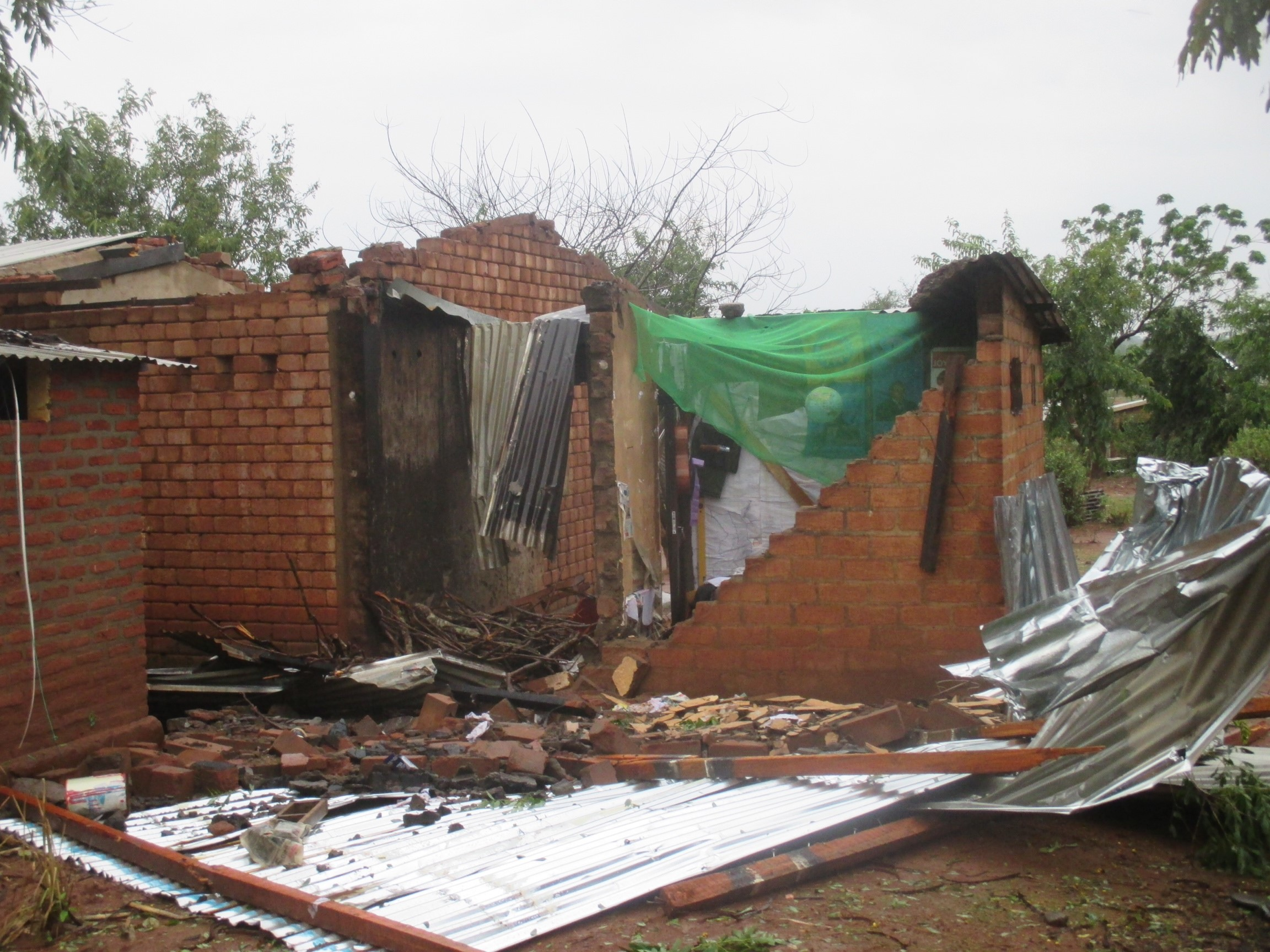 Destruction of shelters in Malawi from heavy rains and flooding