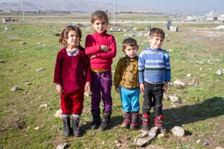 Children with boots Northern Iraq