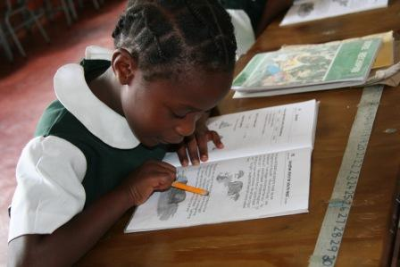 child learning at school