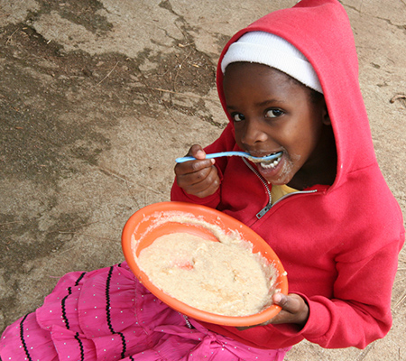 A child from the Zimbabwe feeding program