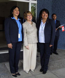 Minister Ablonczy's Visit to the WCVTC - (left to right) - Gladys Lopez, WCVTC Techincal Director, Canadian Minister Diane Ablonczy and Edna Estrada, WCVTC Principal