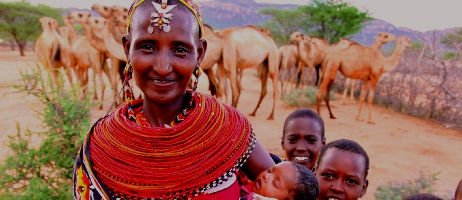 Mother and children in Kenya