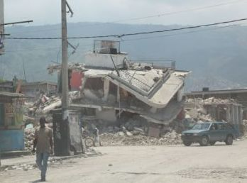 Buildings flattened by the earthquake that struck Haiti in January 2010